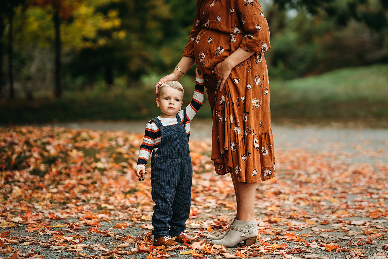 toddler brother in overalls touches pregnant belly in autumn photoshoot