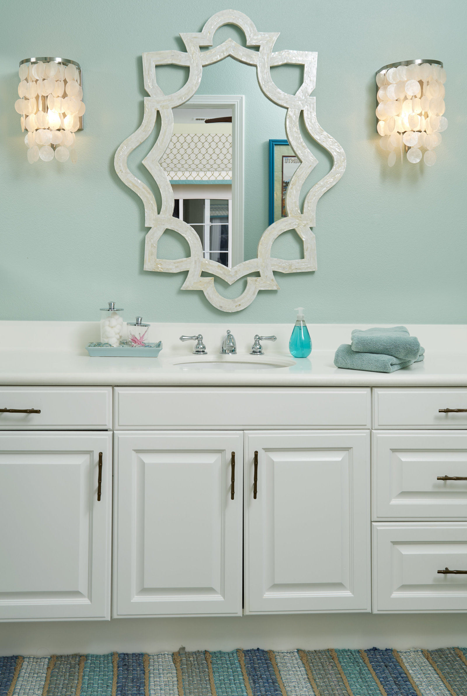 Loft White Aqua Guest Bath Design