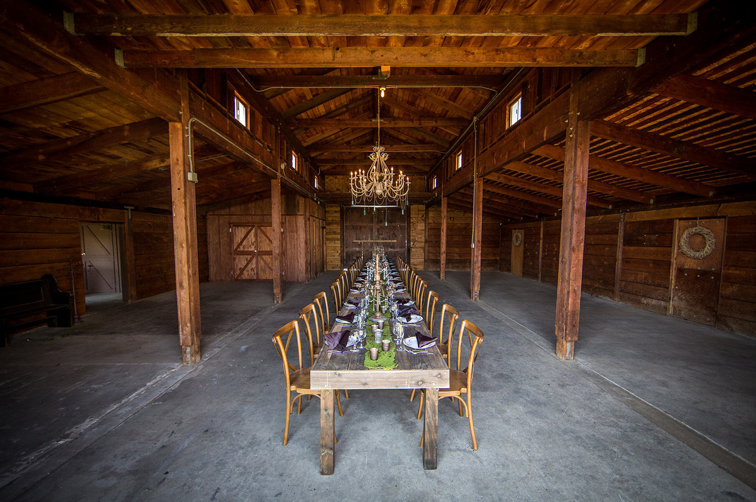 rustic barn with long table