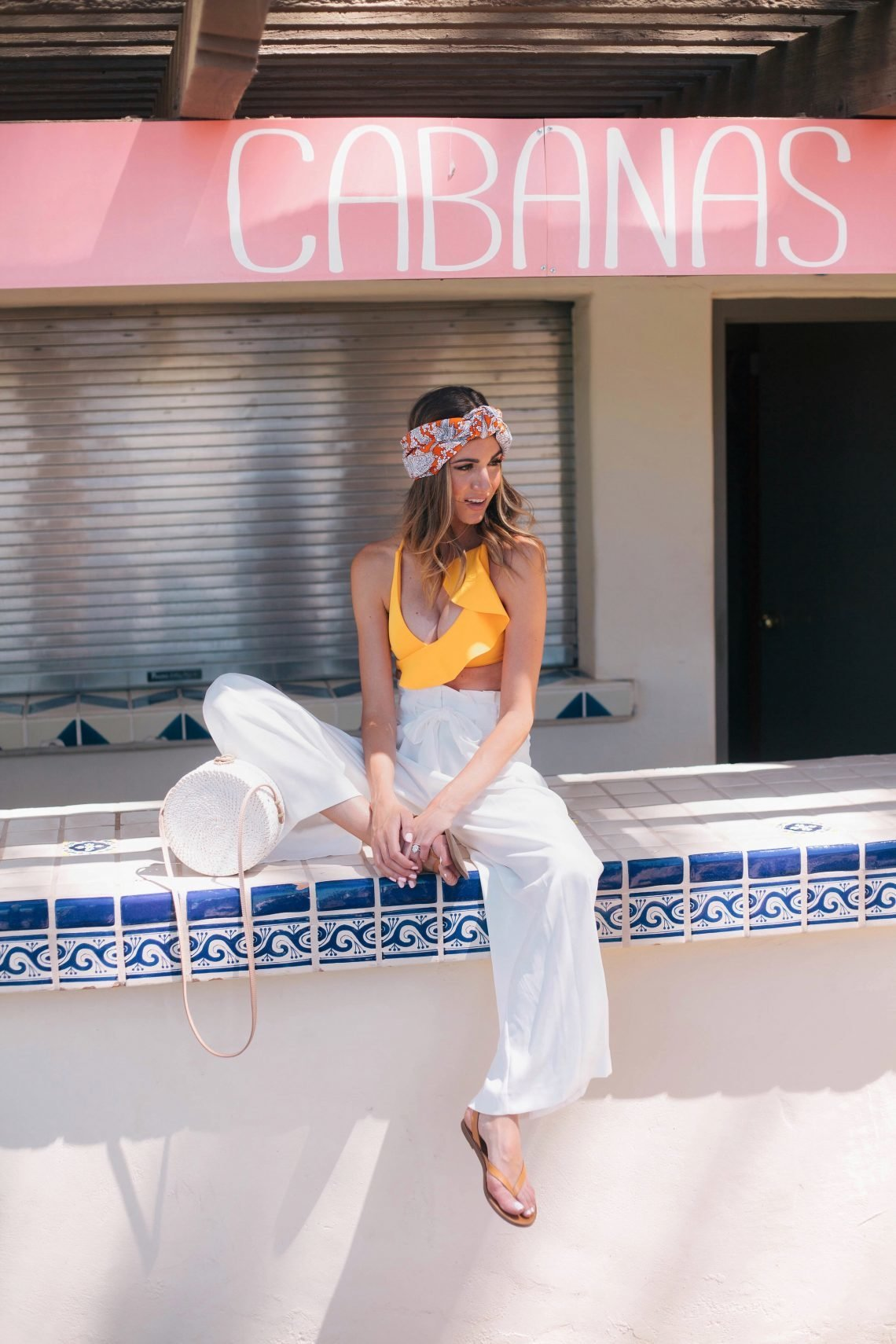 Venessa Kaufman Yellow Crop Top White Pants