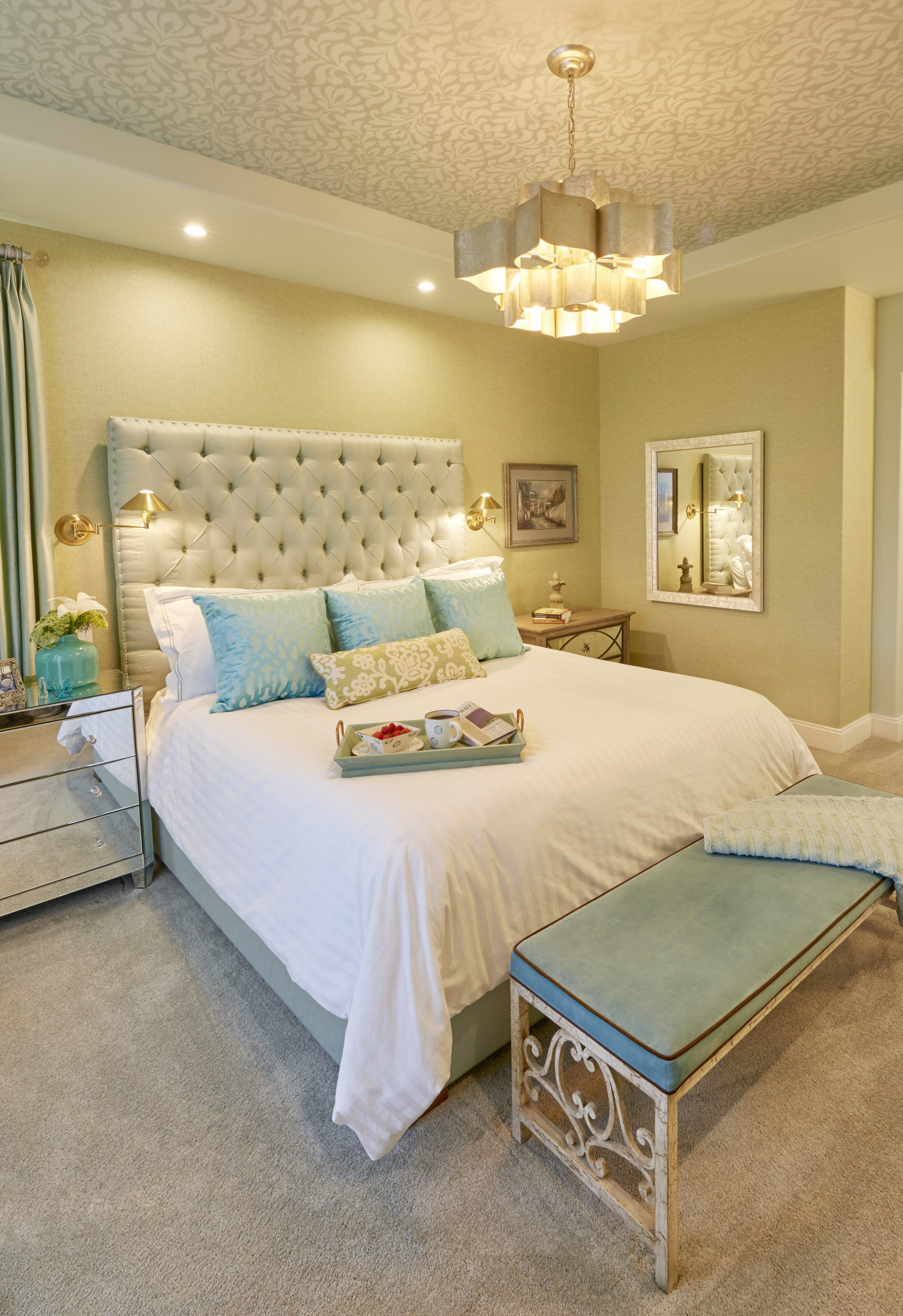 Dream Coastal Aqua White Master Bedroom Design