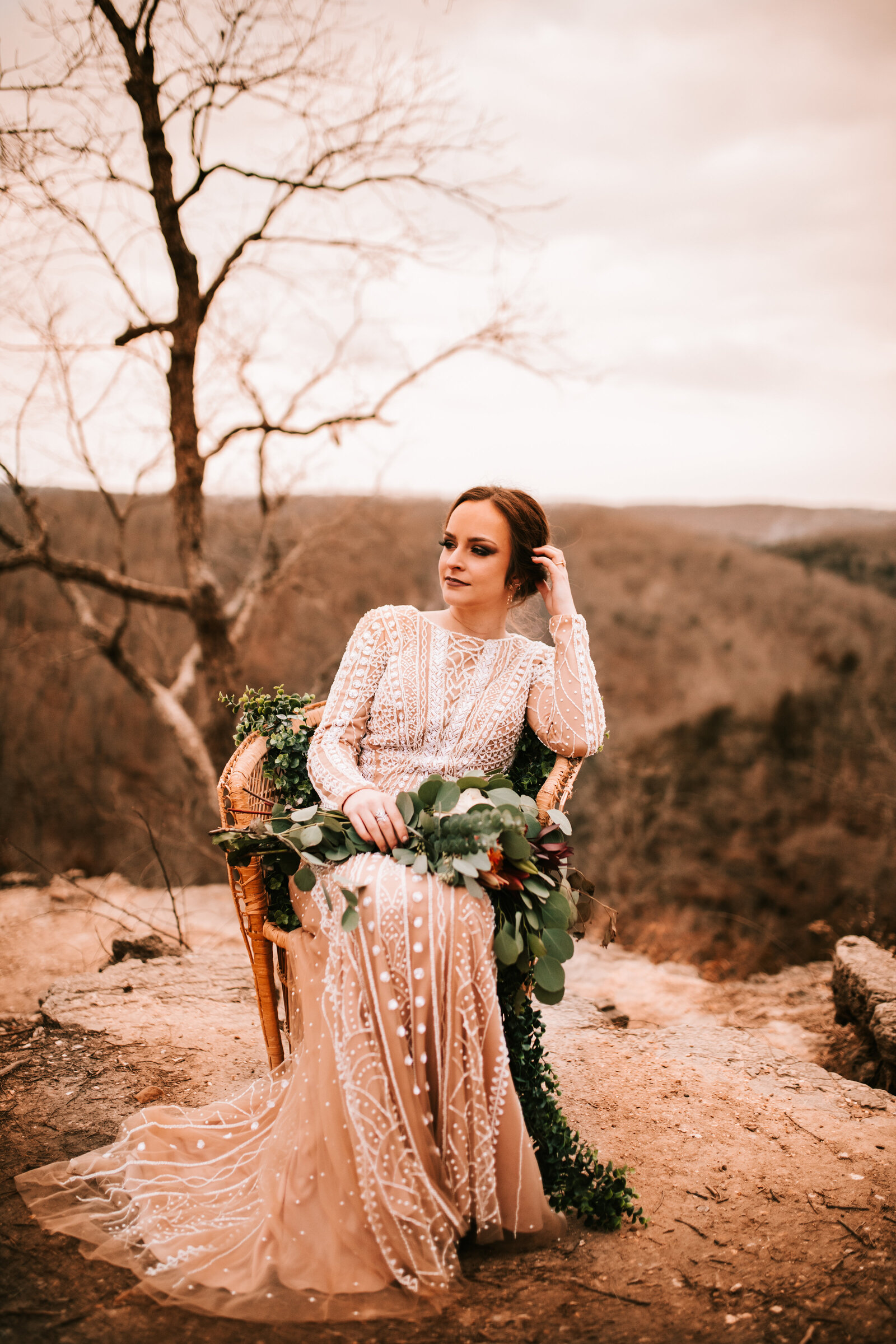 styled elopement with boho dress and greenery