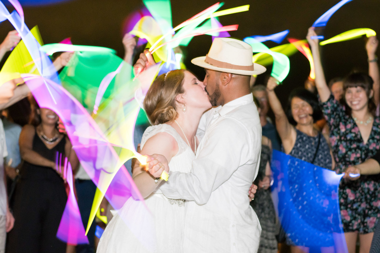 charlotte wedding photographer shot of Wedding Photography shot of glow stick exit