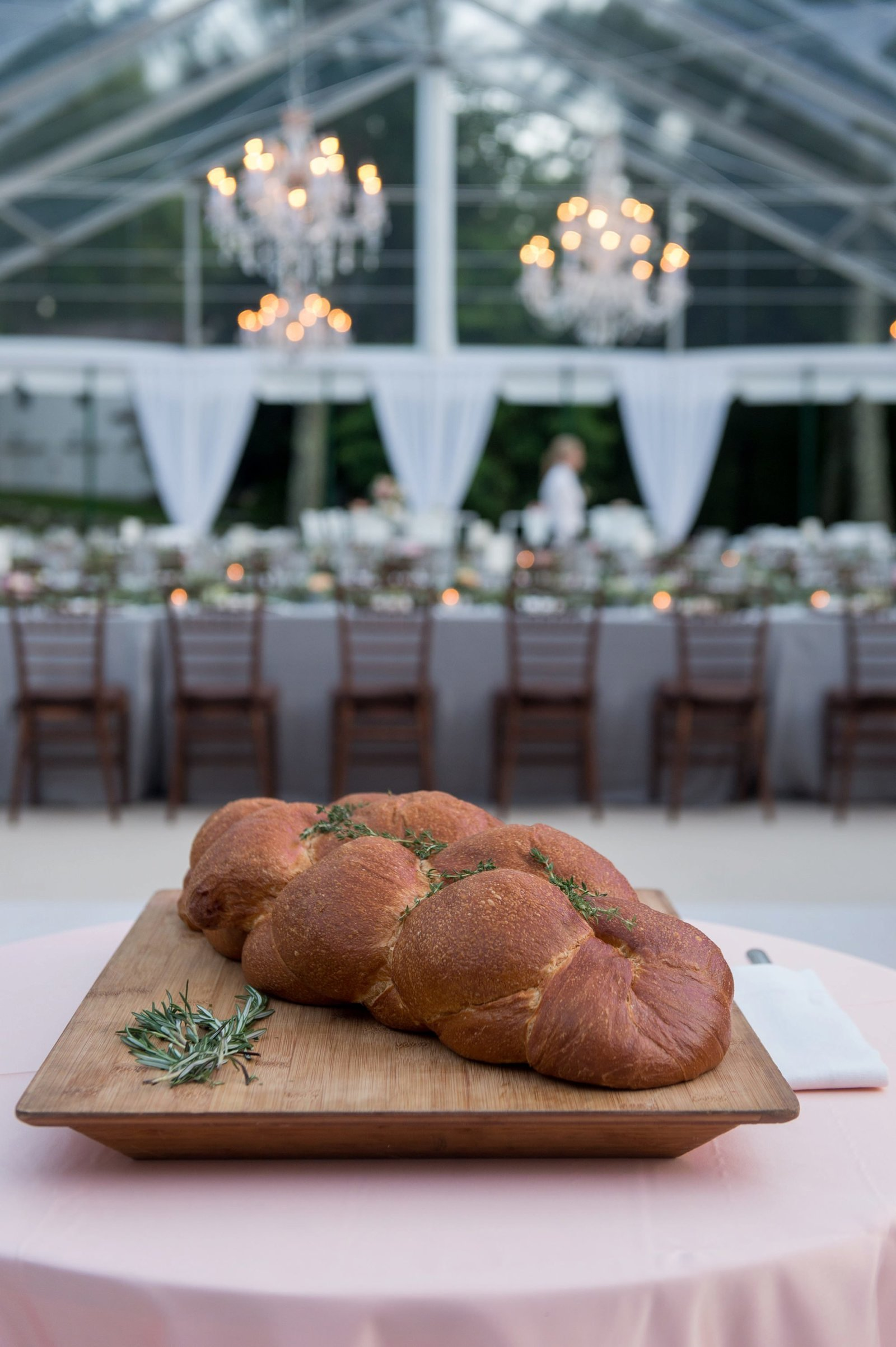 Clear top tented wedding challah bread in Washington, CT