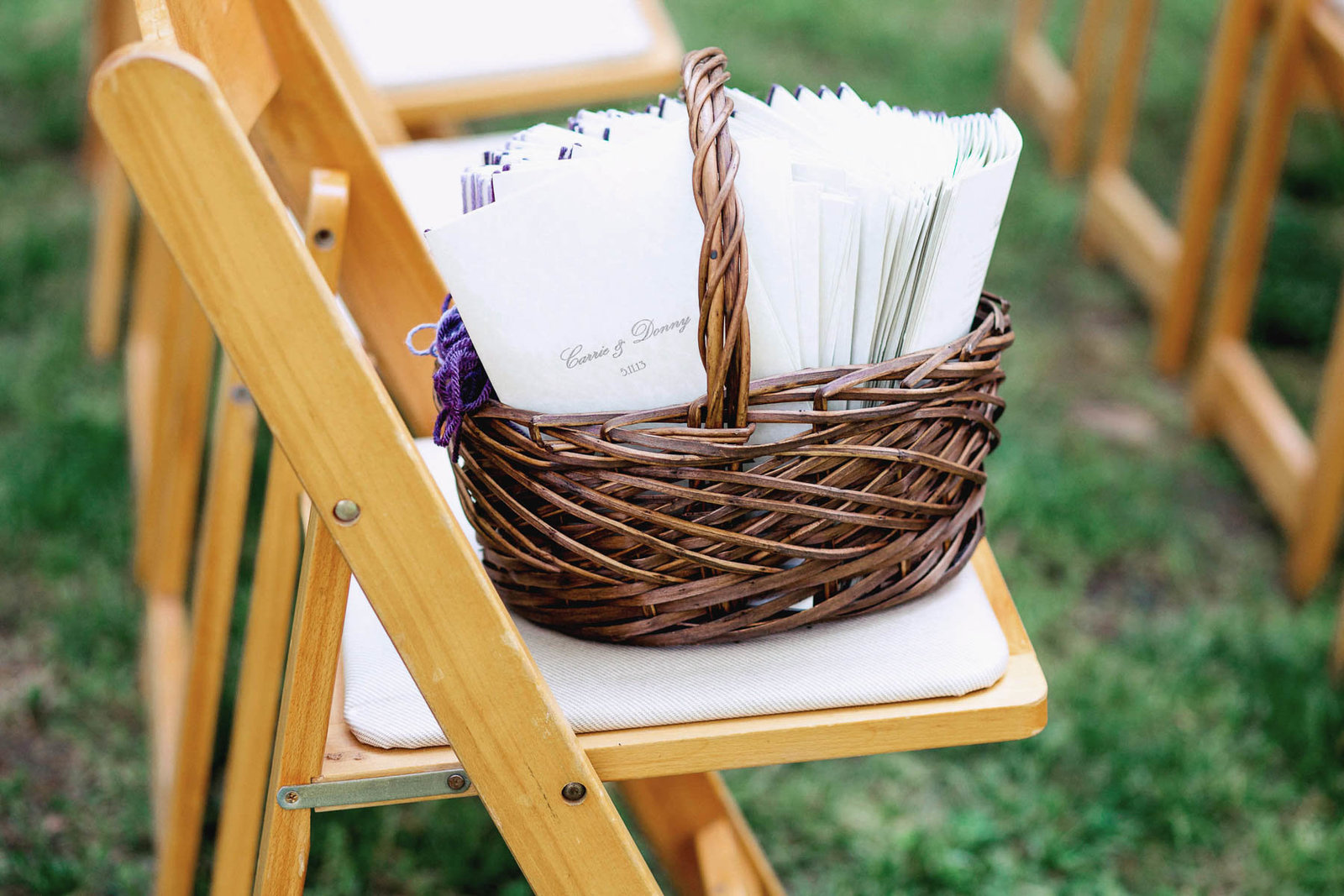 Programs are stacked in a basket, Lewes Historical Society, Delaware. Kate Timbers Photography.