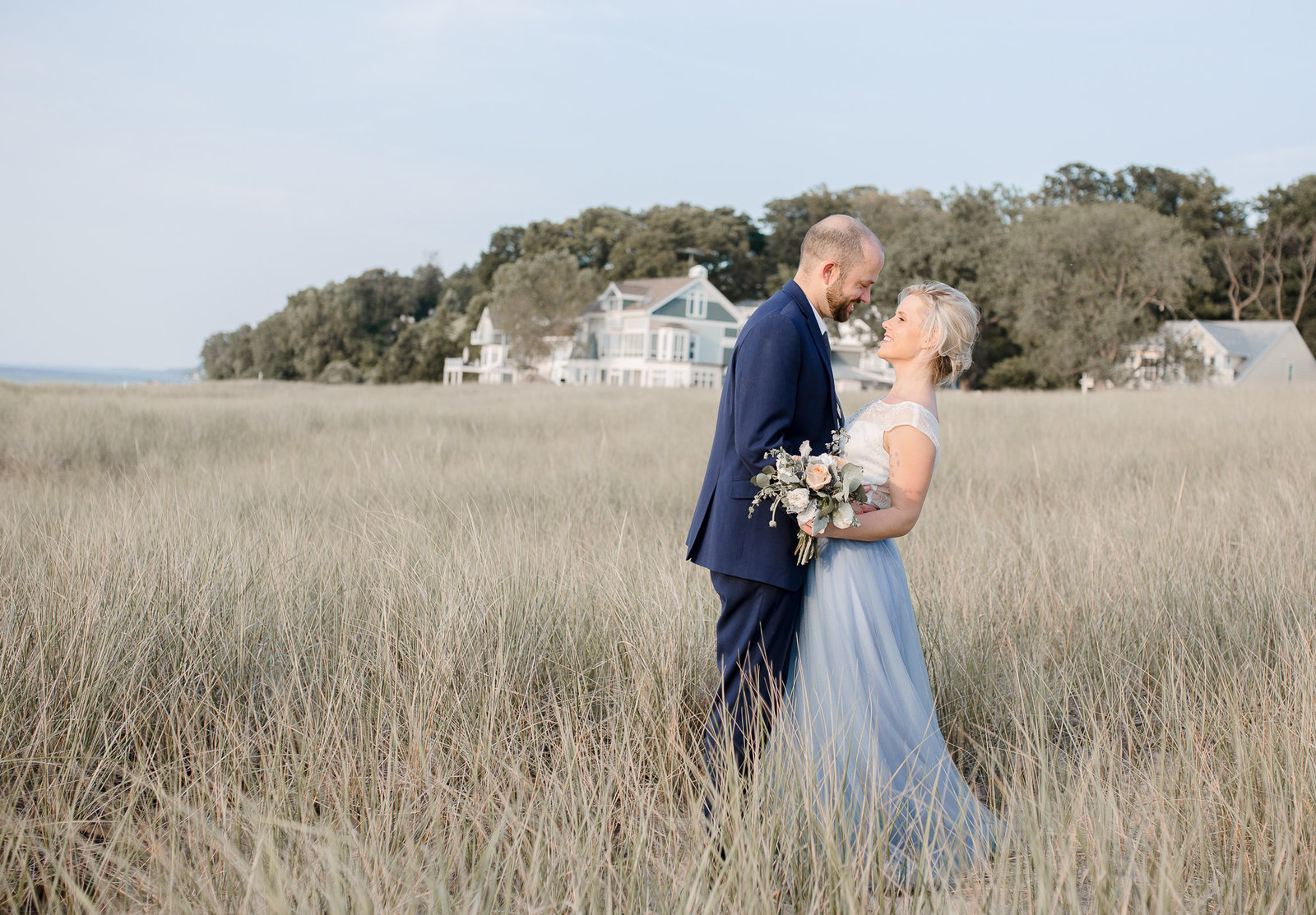 dusty blue dress engagement dress