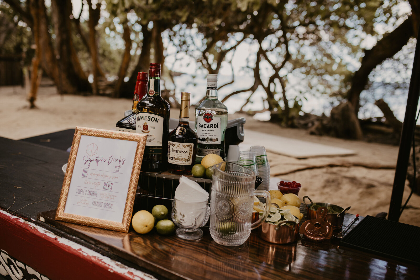 Tropical Wedding Bar Setup - Hale Koa Estate Laie
