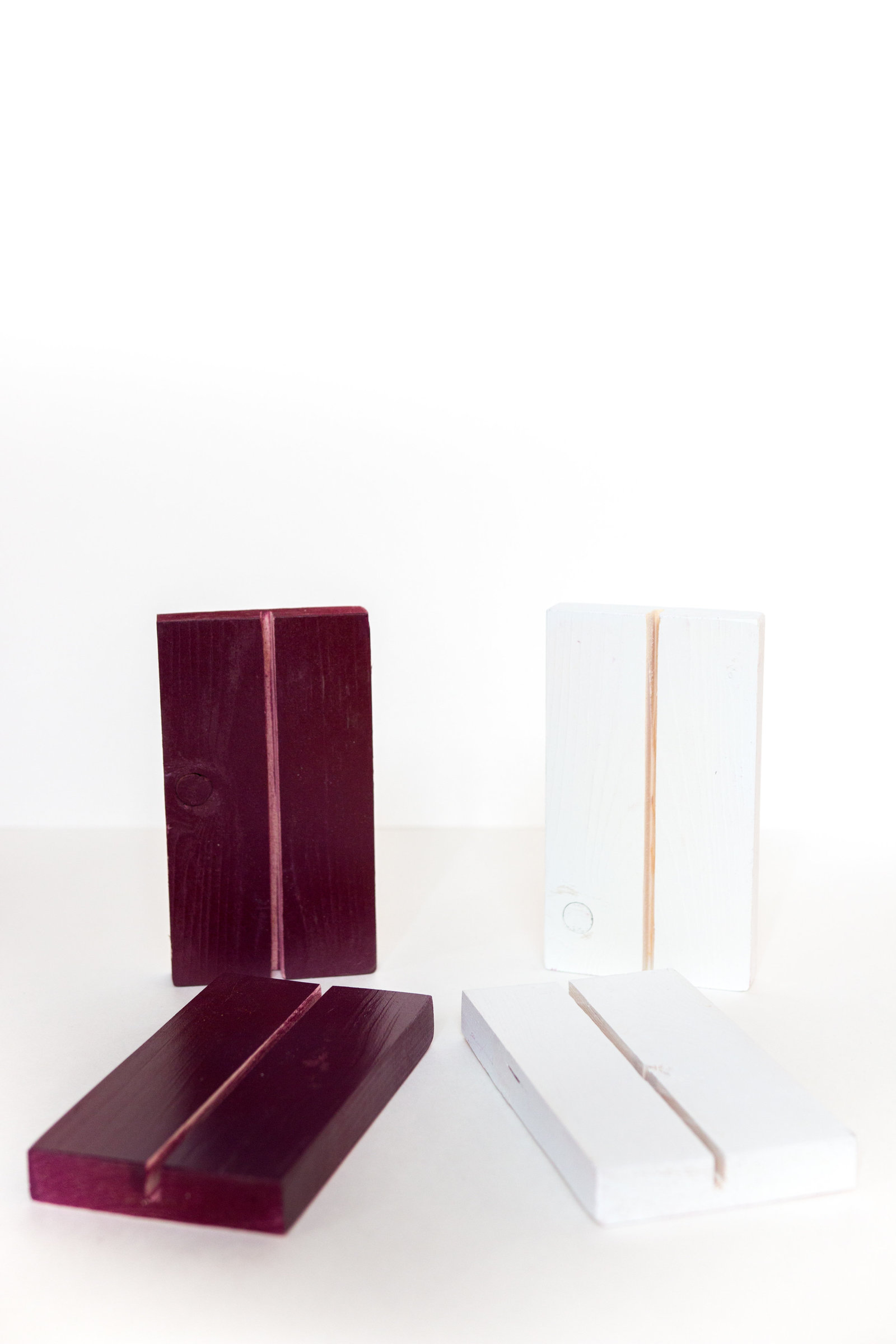 Mauve and white wooden stand base for wedding or event signage to rent through Hue + FA Rental