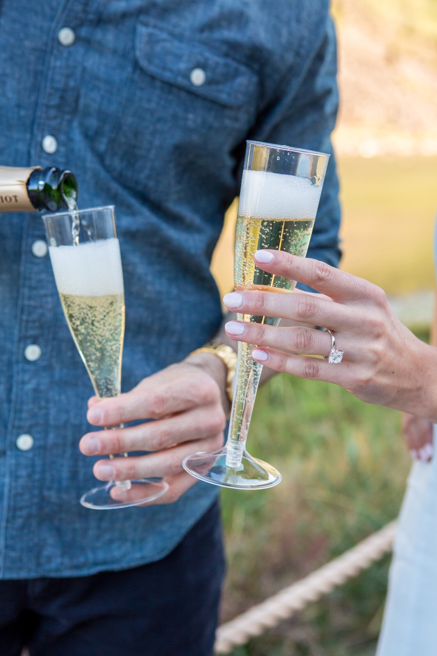 Engagement photos with a toast in Colorado