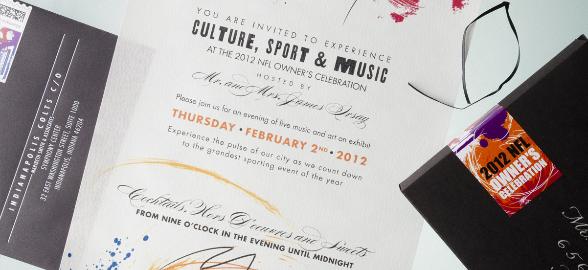 Colts Owners Party Invite Closeup designed by KB Design llc. for Super Bowl 2012
