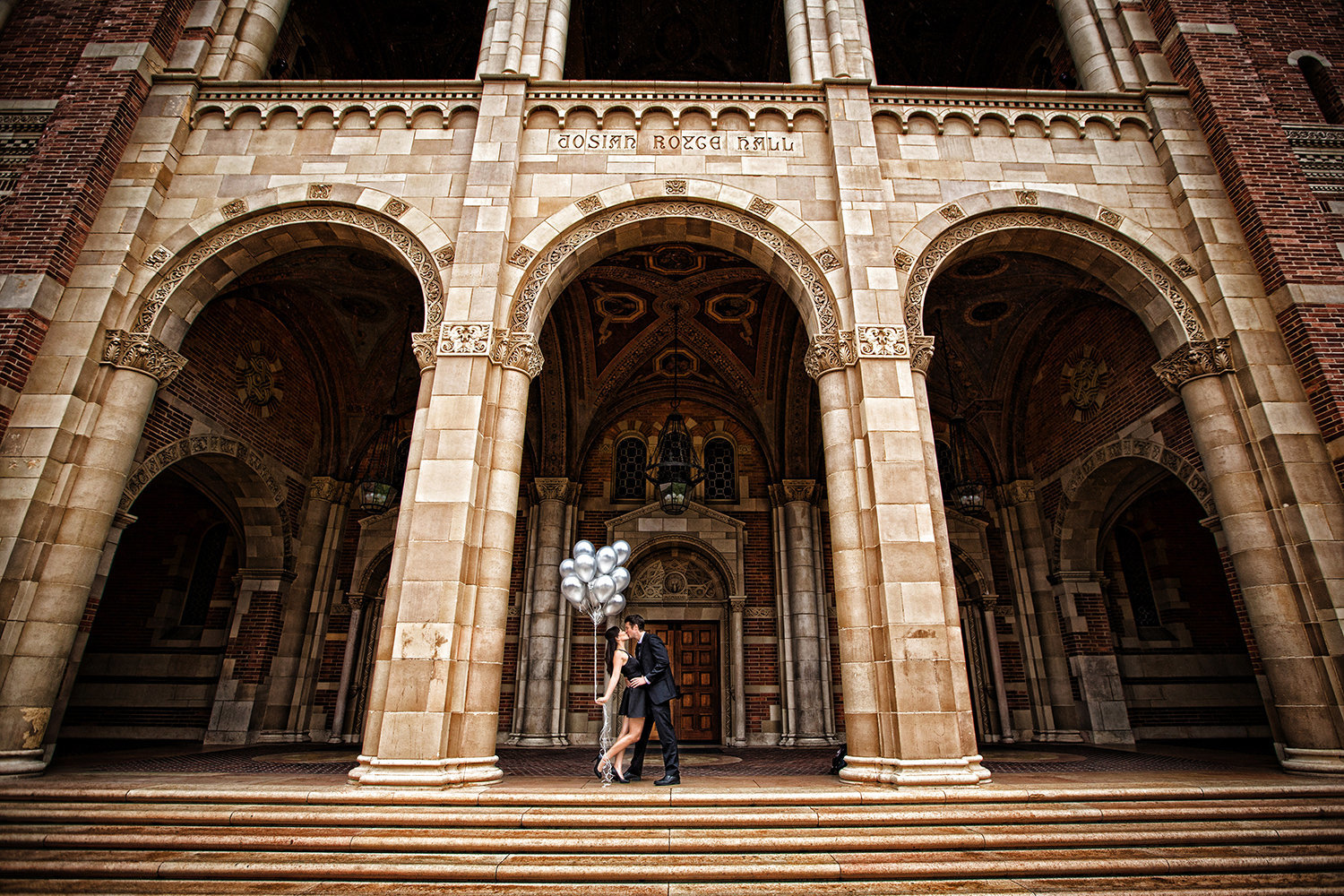 Balboa Park engagement photos  with fun balloons