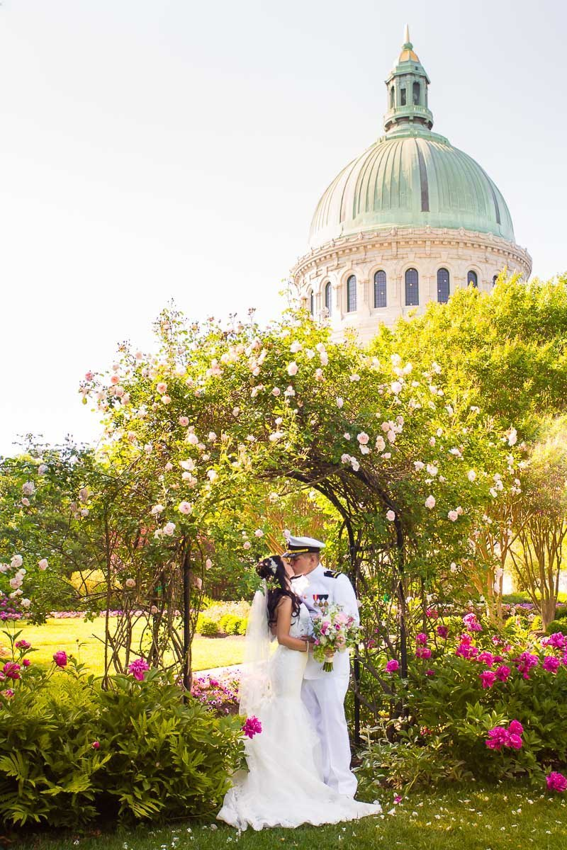 photo from wedding at usna naval academy with chapel dome