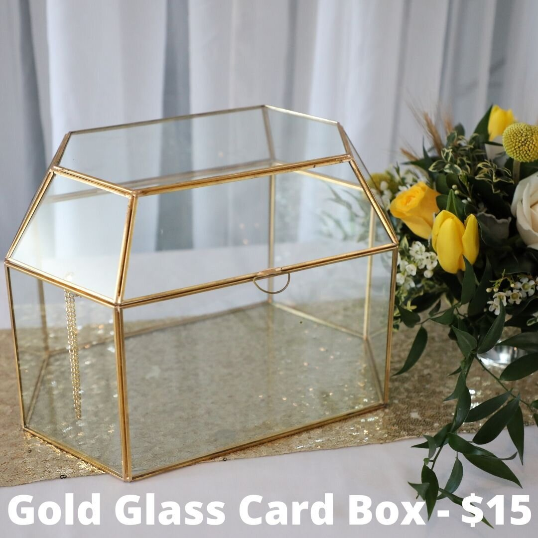 gold glass card box
