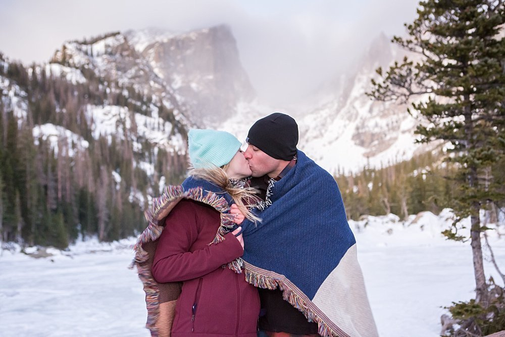 Winter engagement photos at Dream Lake Rocky Mountain National Park