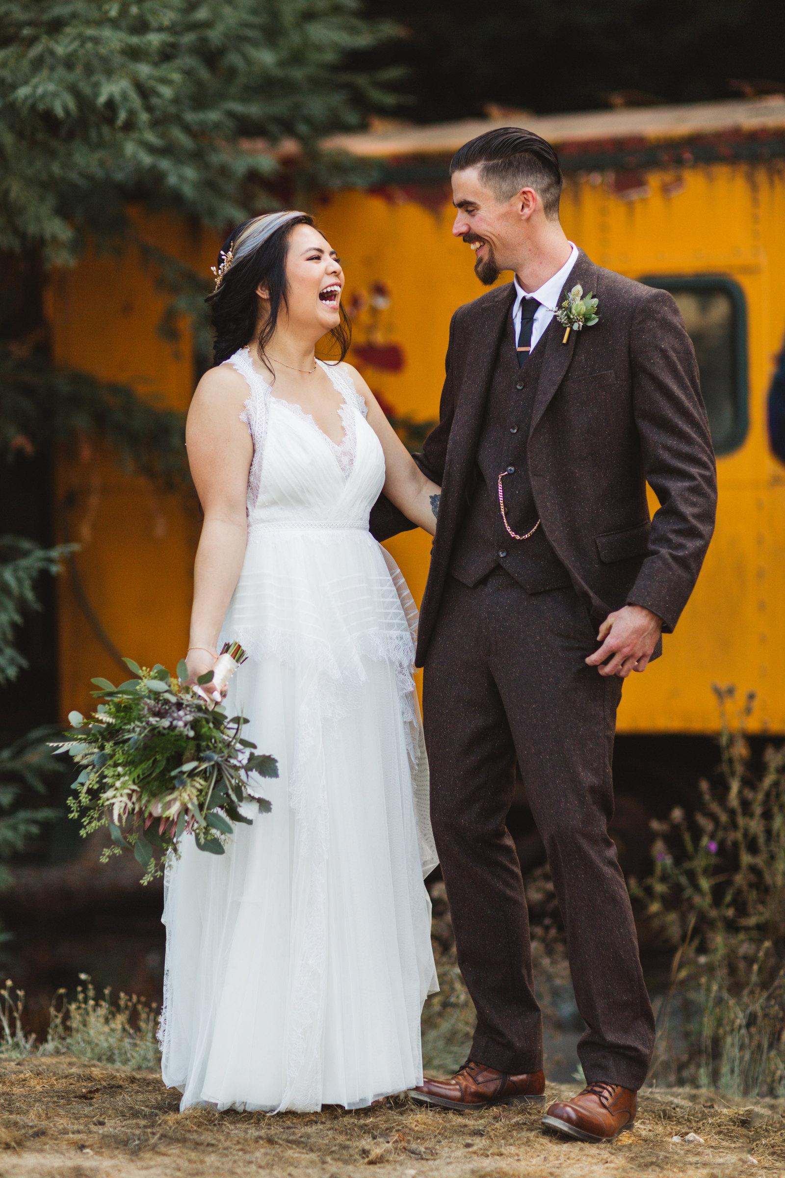 couple laughing at santa cruz's roaring camp railroads wedding