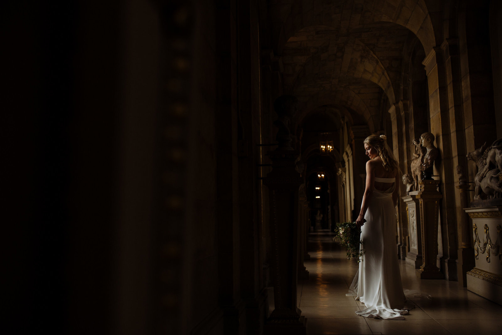 Bride at Castle Howard. Yorkshire wedding photographer