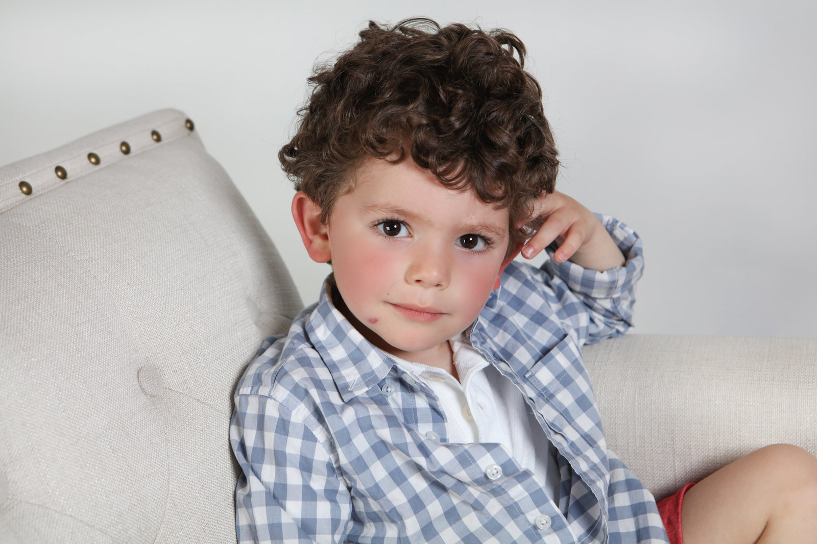 Headshot of toddler, studio portraits