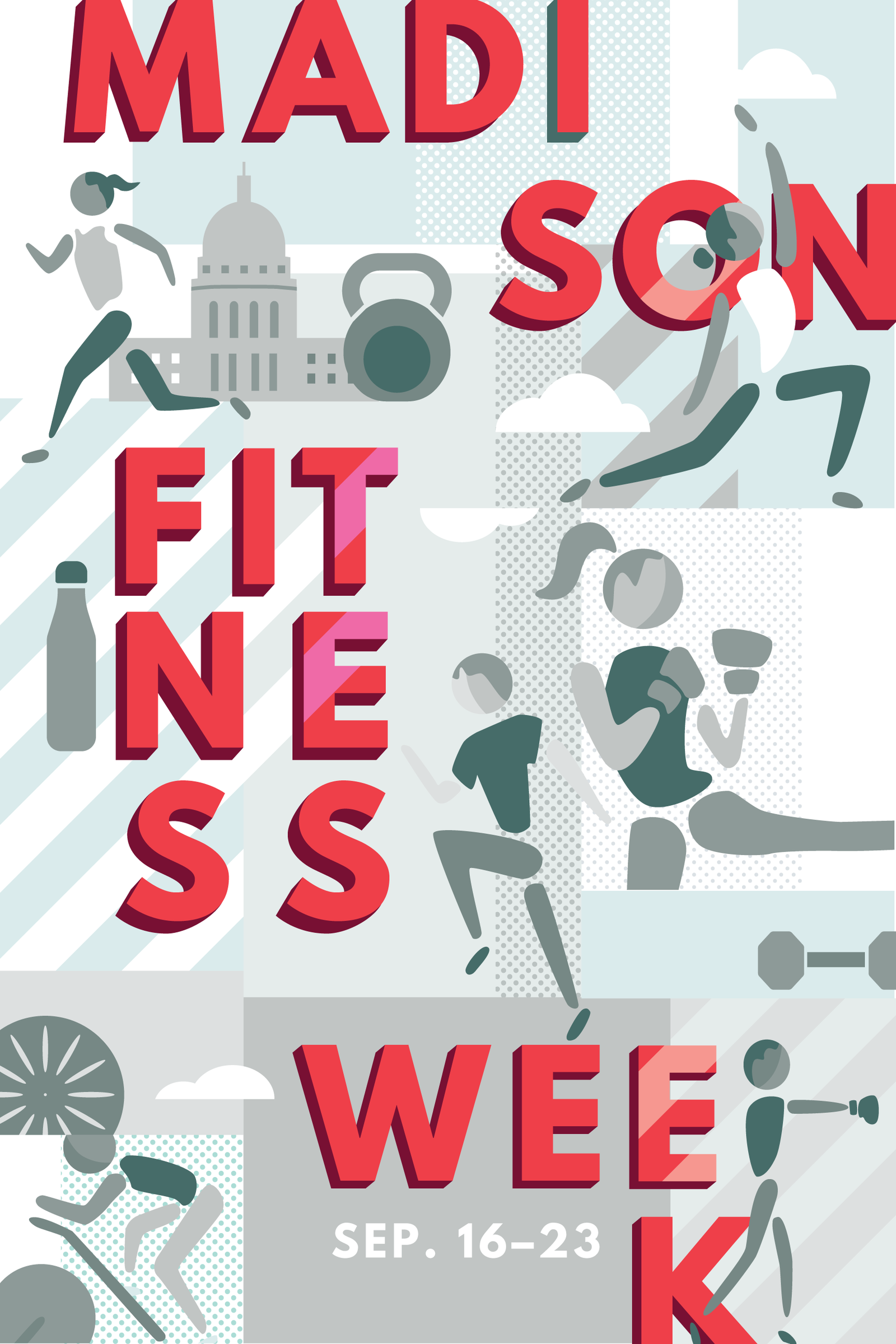 Poster  design for Madison Fitness Week by Christie Evenson, graphic designer and illustrator