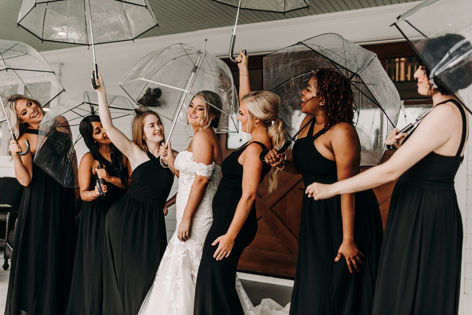 Bride  with wedding party at White Oak Road wedding venue in Appling, Ga