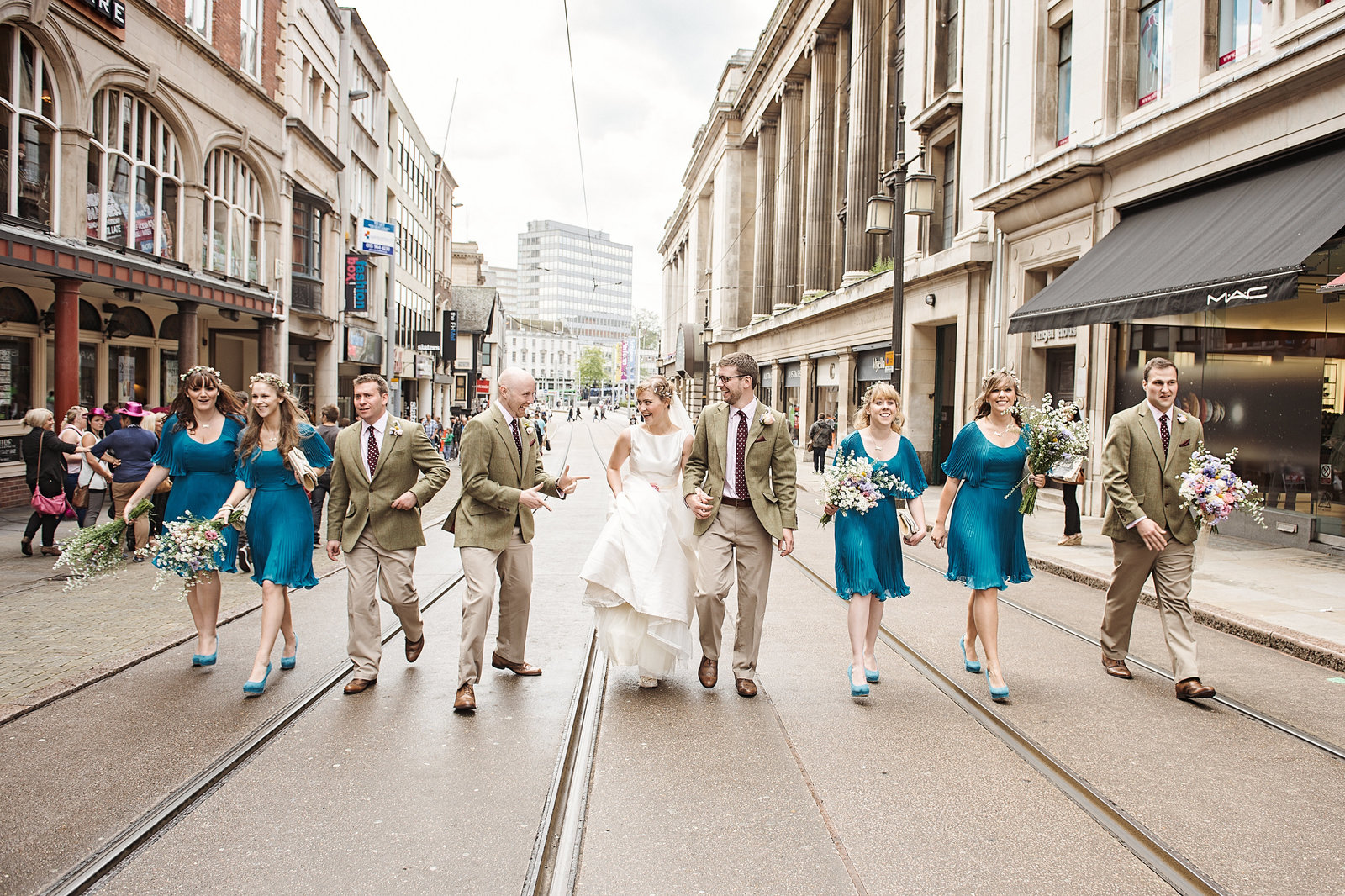 Nottingham City Centre wedding photography, walking down the tram lines.