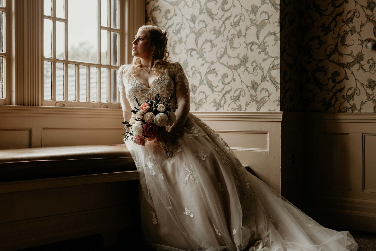 bride gazing out the window.