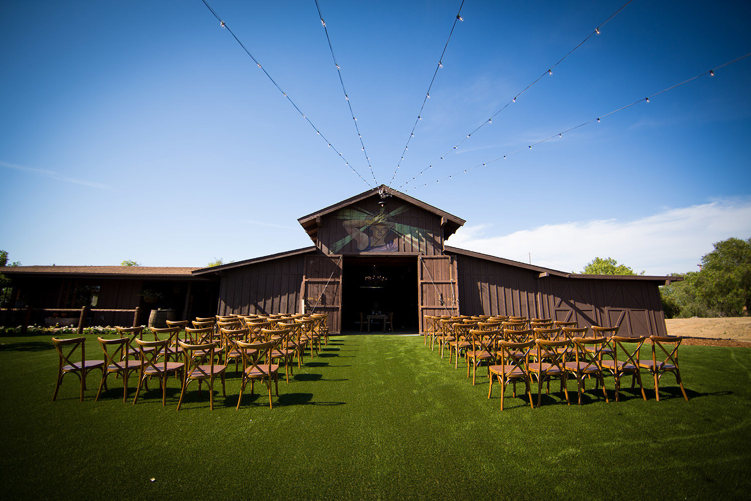 ceremony space with rustic barn