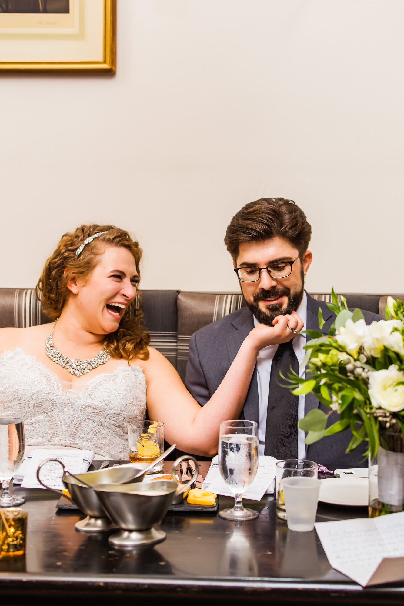 Candid wedding photo of bride and groom at their nontraditional wedding in St. Louis