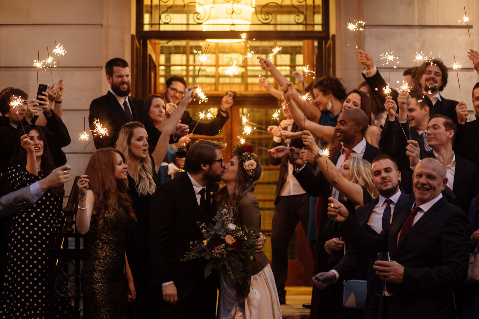 Bride and groom exit to sparklers. Town Hall Hotel, Bethnall Green Wedding Photographer