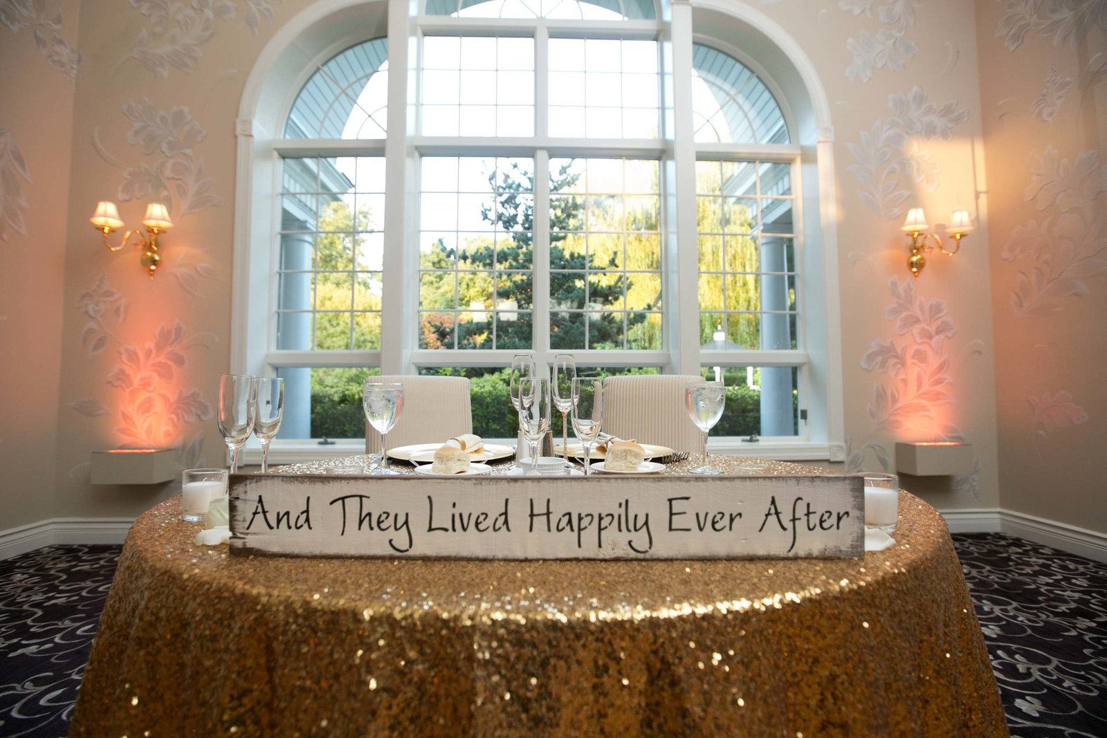 Bride and groom table at The Estate room at East Wind