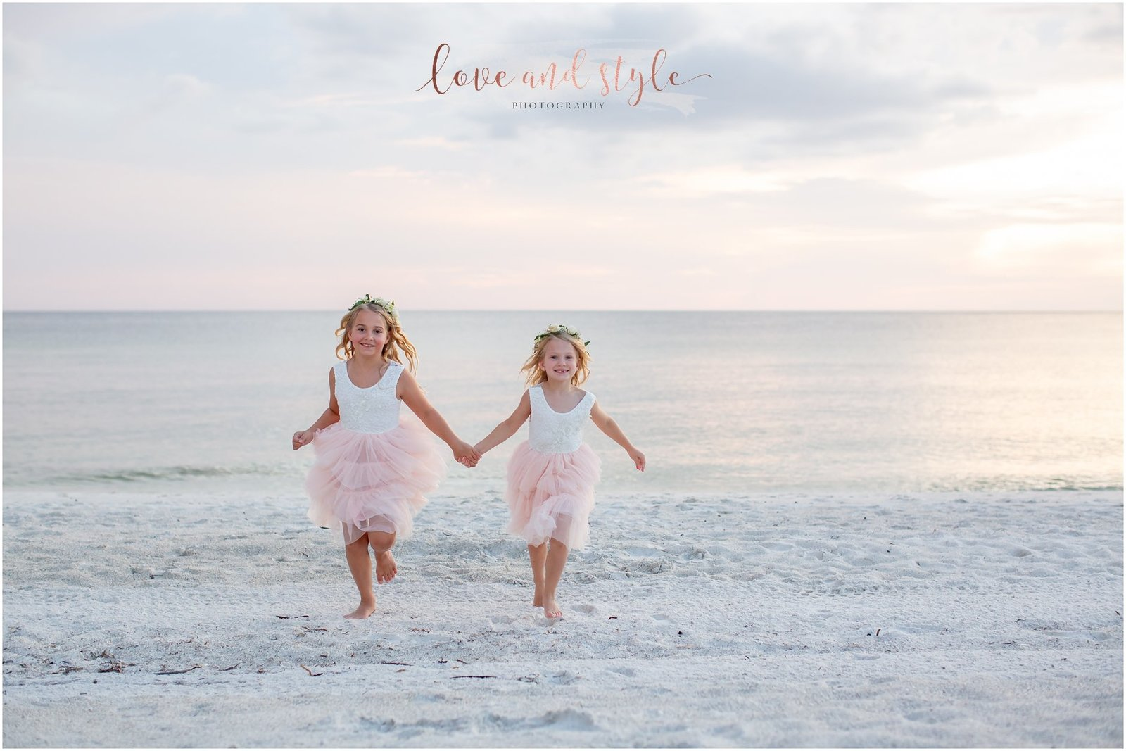 Flower girls in pink tutus and flower crowns on Bradenton Beach, Anna Maria Island