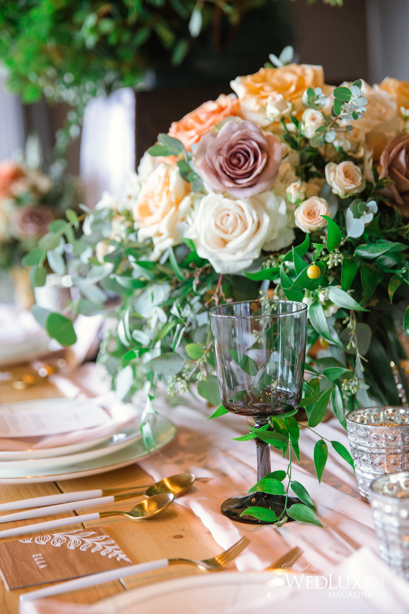 Styled Wedluxe Magazine Rustic Retreat place setting