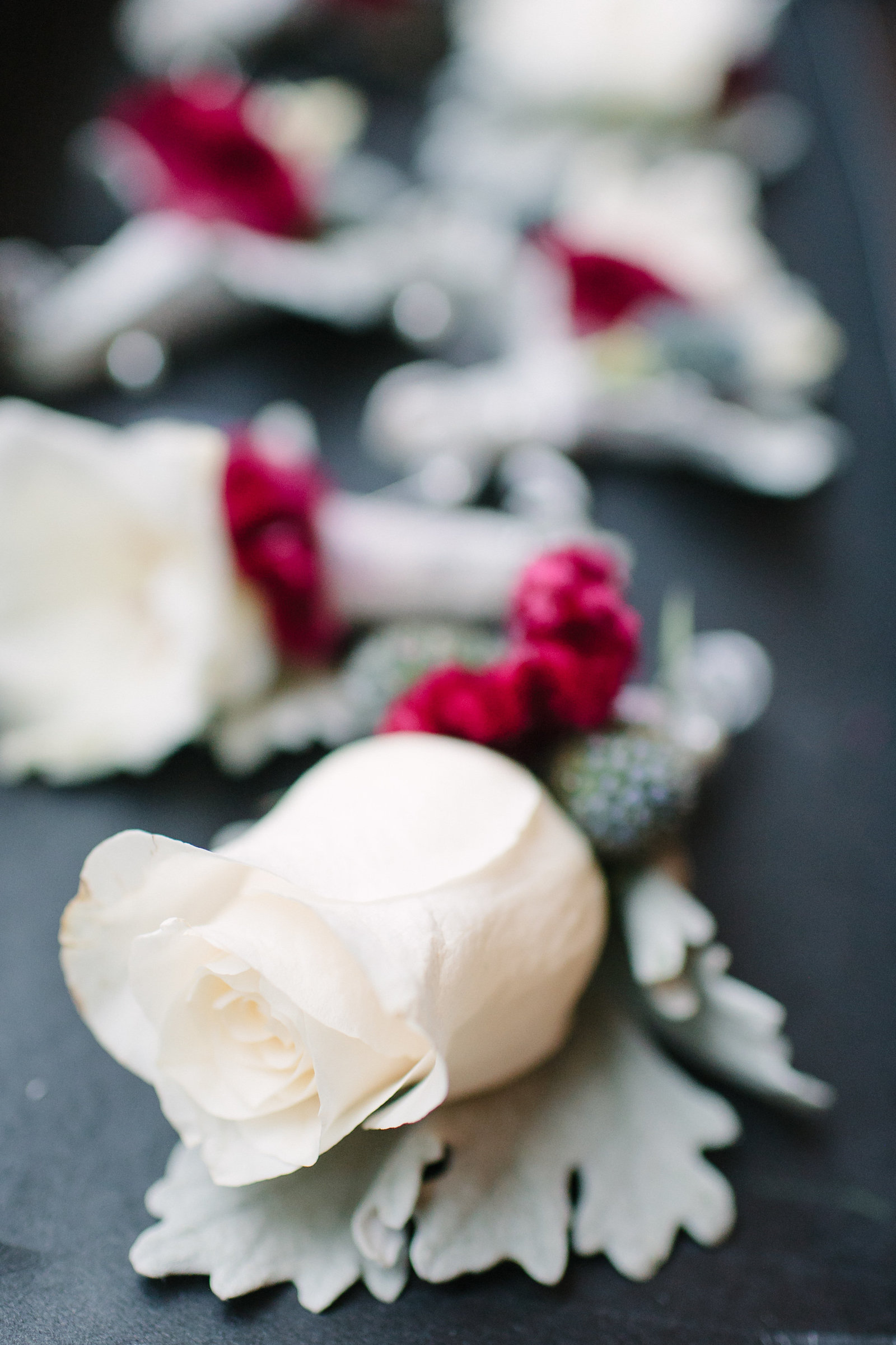 Boutonniere Wedding - White Roses with Red