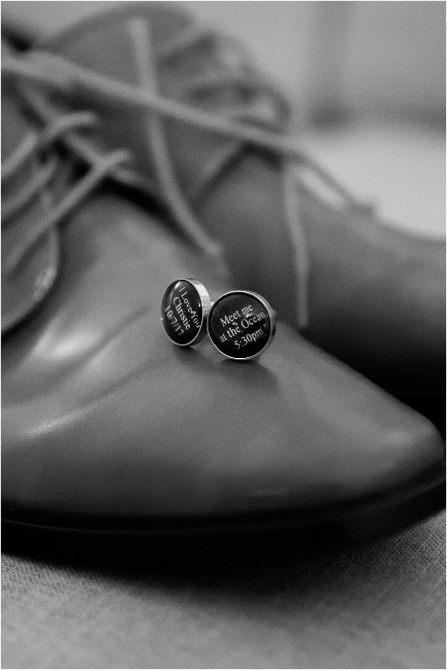 Anna Maria Island Wedding Photography of the grooms details, shoes and custom cuff links