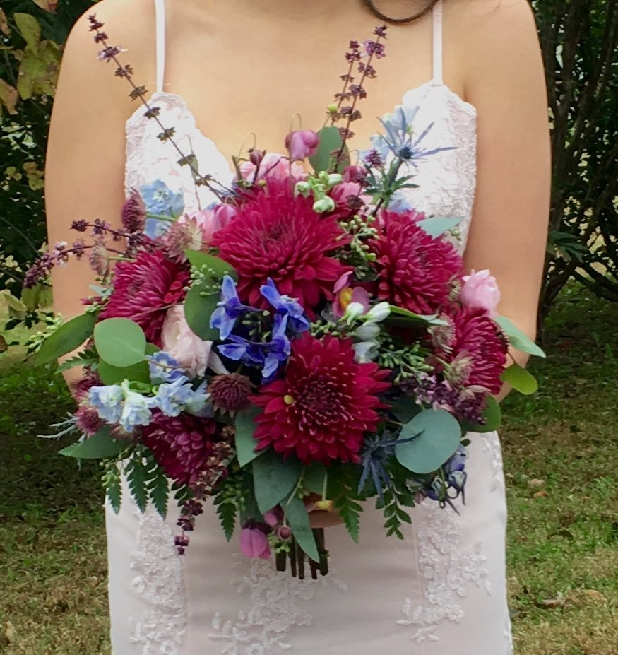 rustic bridal bouquet with flowers picked from the garden