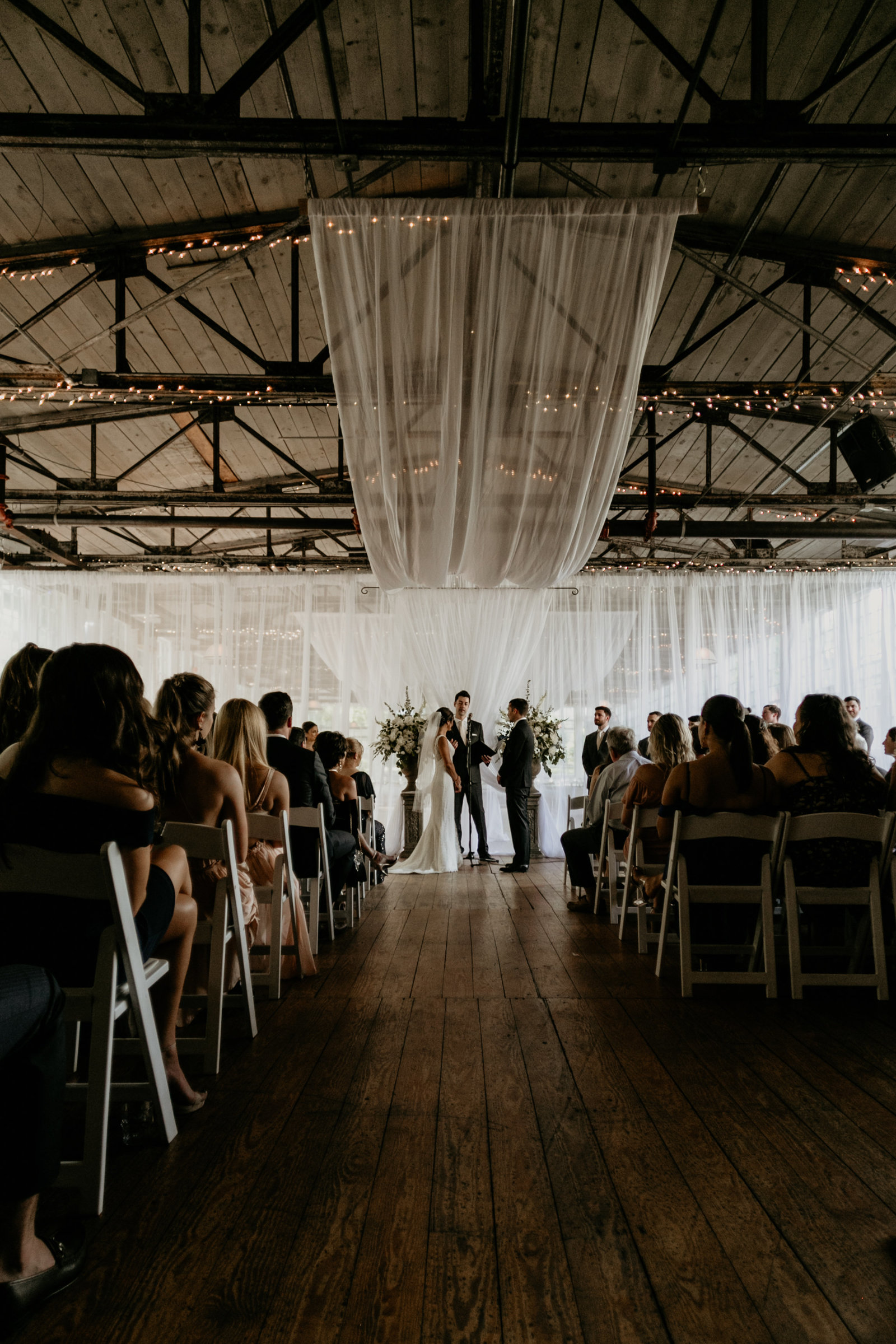 Wedding ceremony at the lace factory in deep river, connecticut.
