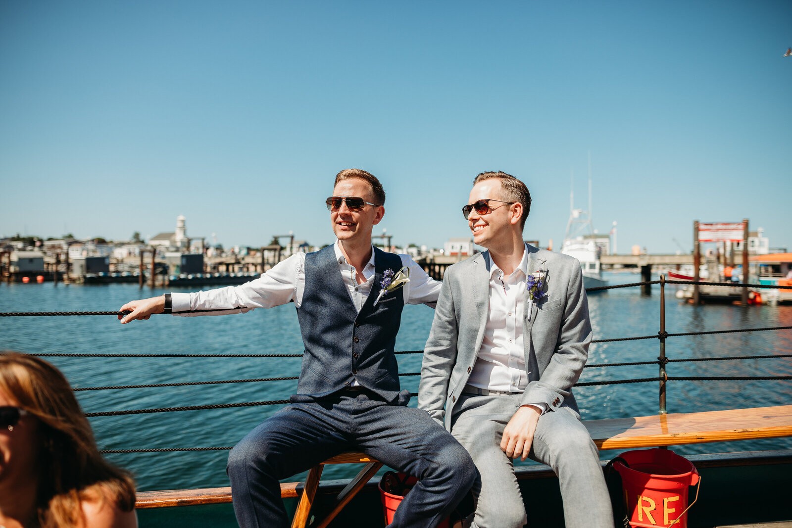 gay couple eloping on a yacht on cape cod