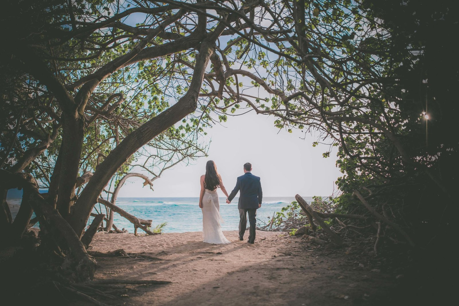 Bride and groom hold hands and take in the Oahu beach view while in the tree line.