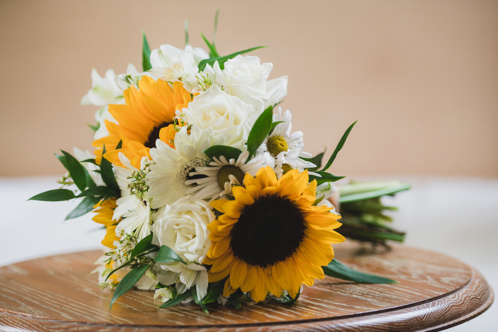 photo of bouquet on table from wedding at Three Village Inn