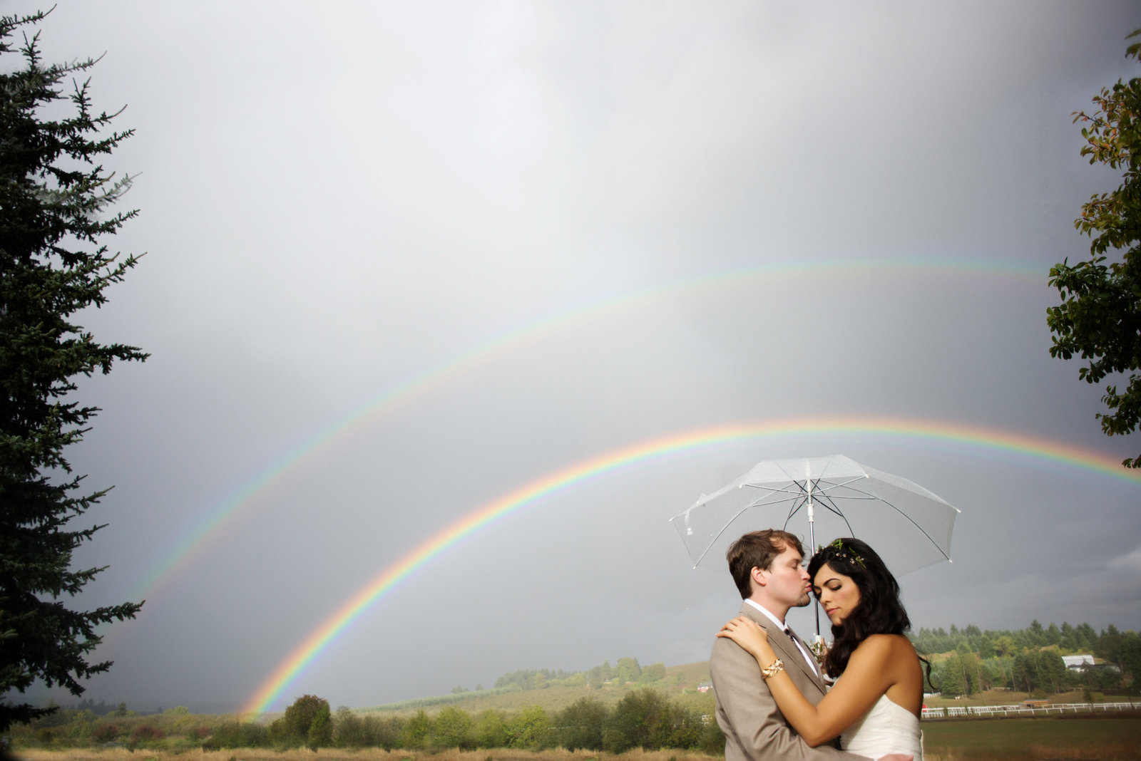 a double rainbow at a wedding in carlton or