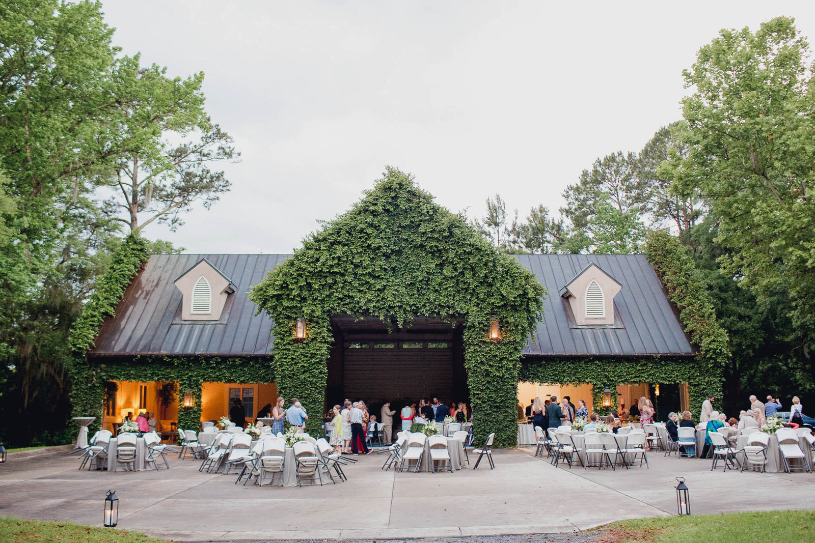 Guests mingle at reception, Old Wide Awake Plantation, Charleston, South Carolina