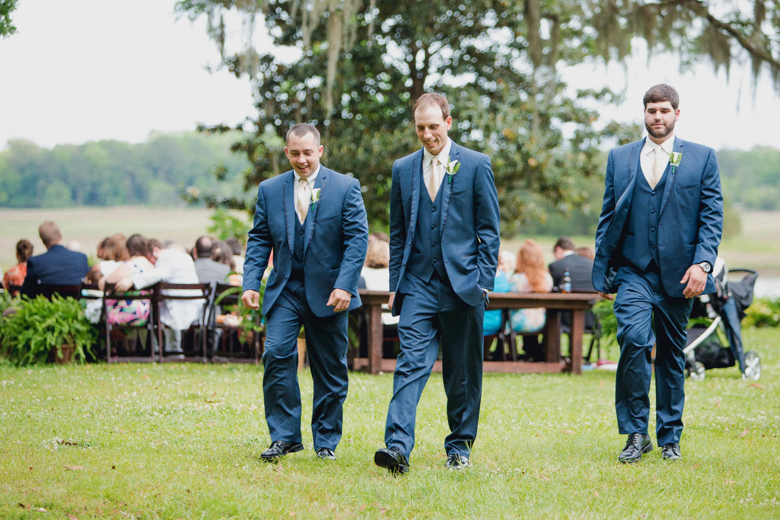 Groomsmen prepare for ceremony, Old Wide Awake Plantation, Charleston Wedding Photographer.