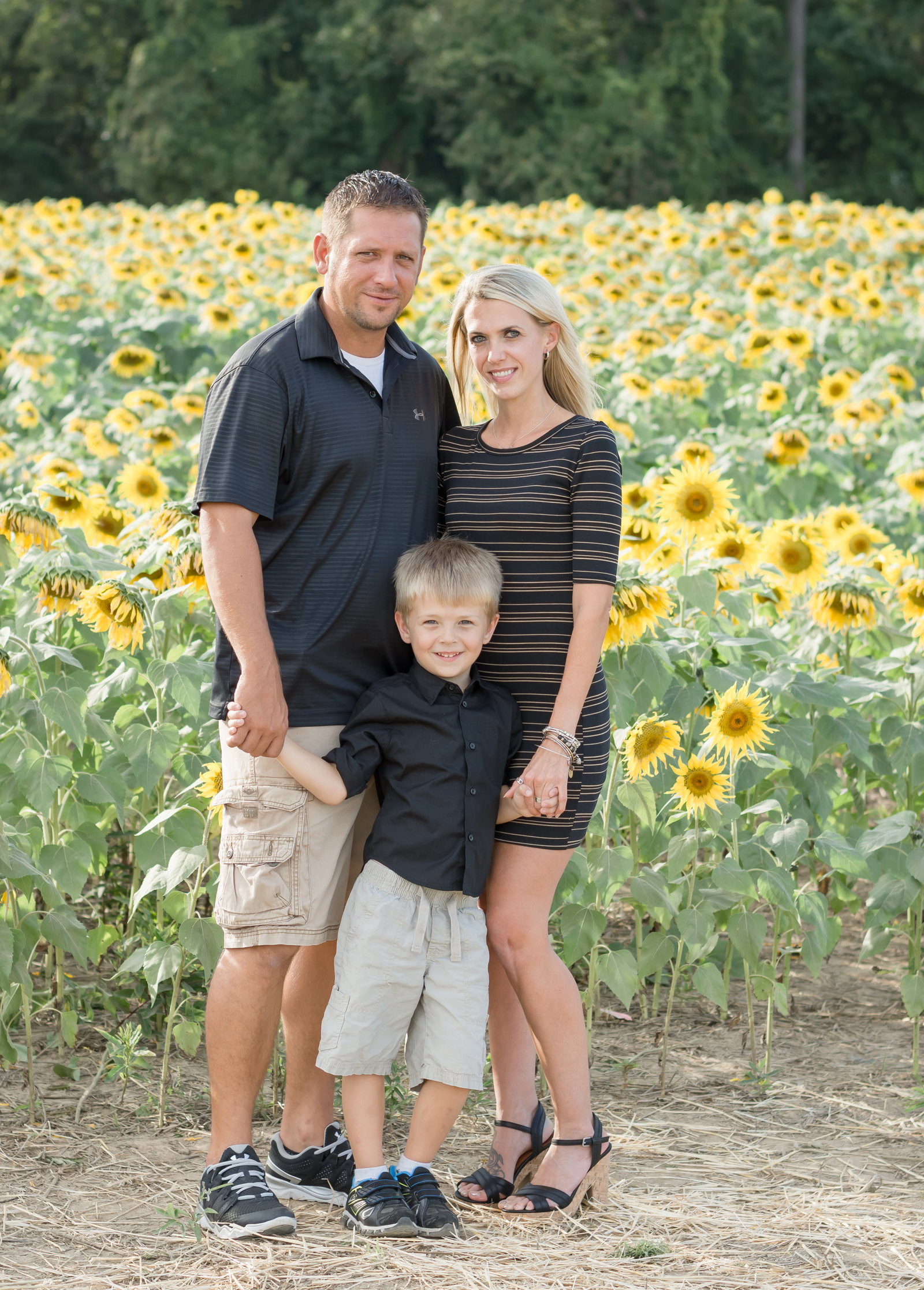 Rebecca, Scott, and Tyler at the Sunflower Field in Harford County, MD