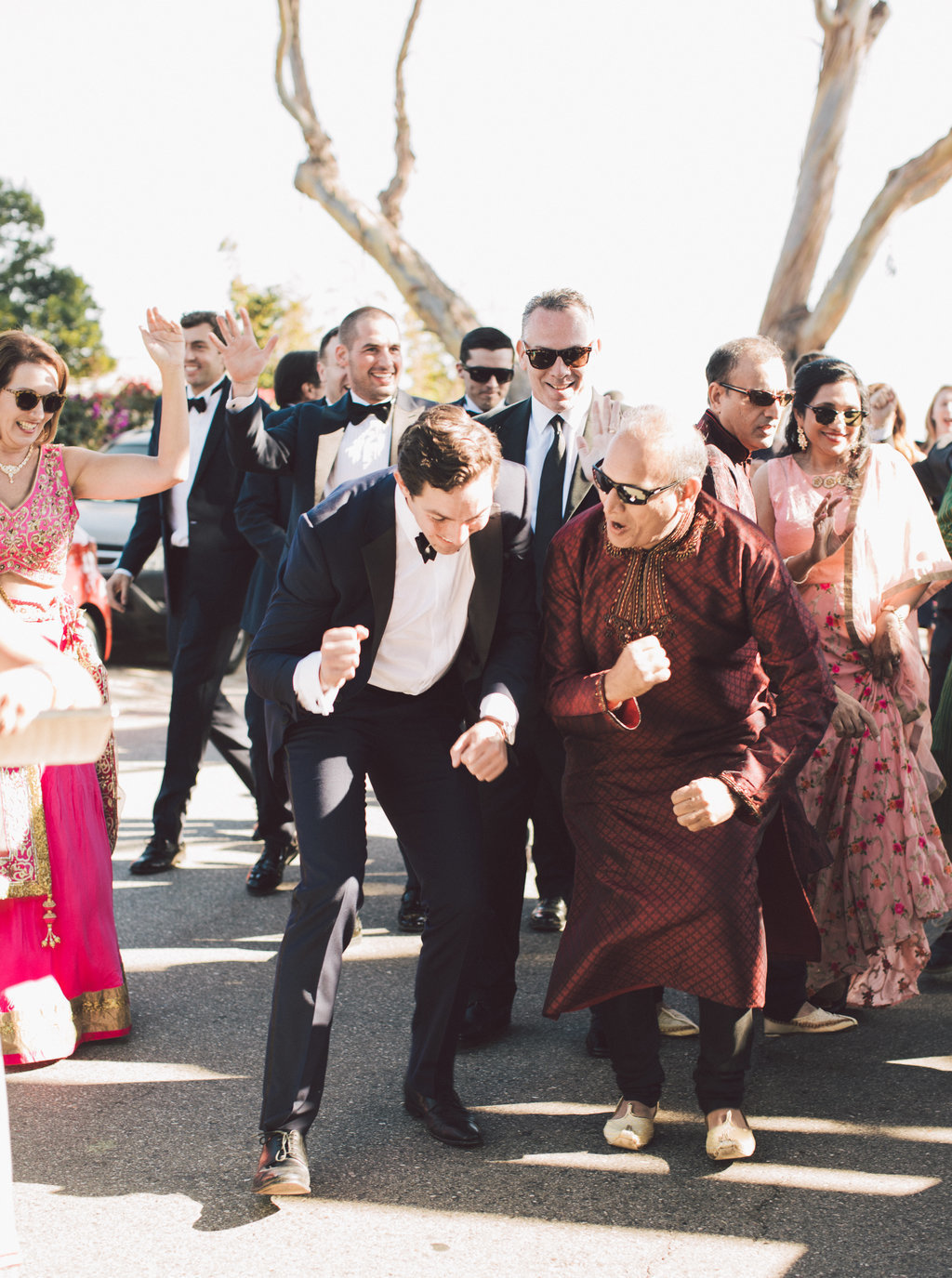 Bharat parade at Indian and Christian blended tradition wedding at Butterfly Lane Estate in Montecito