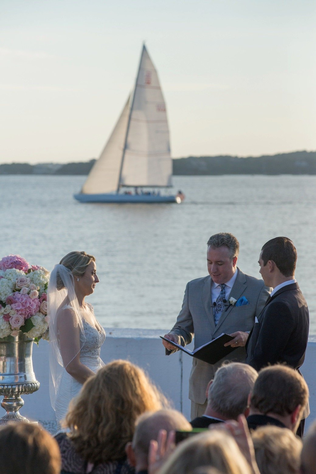 Wedding ceremony overlooking the ocean in Newport, RI