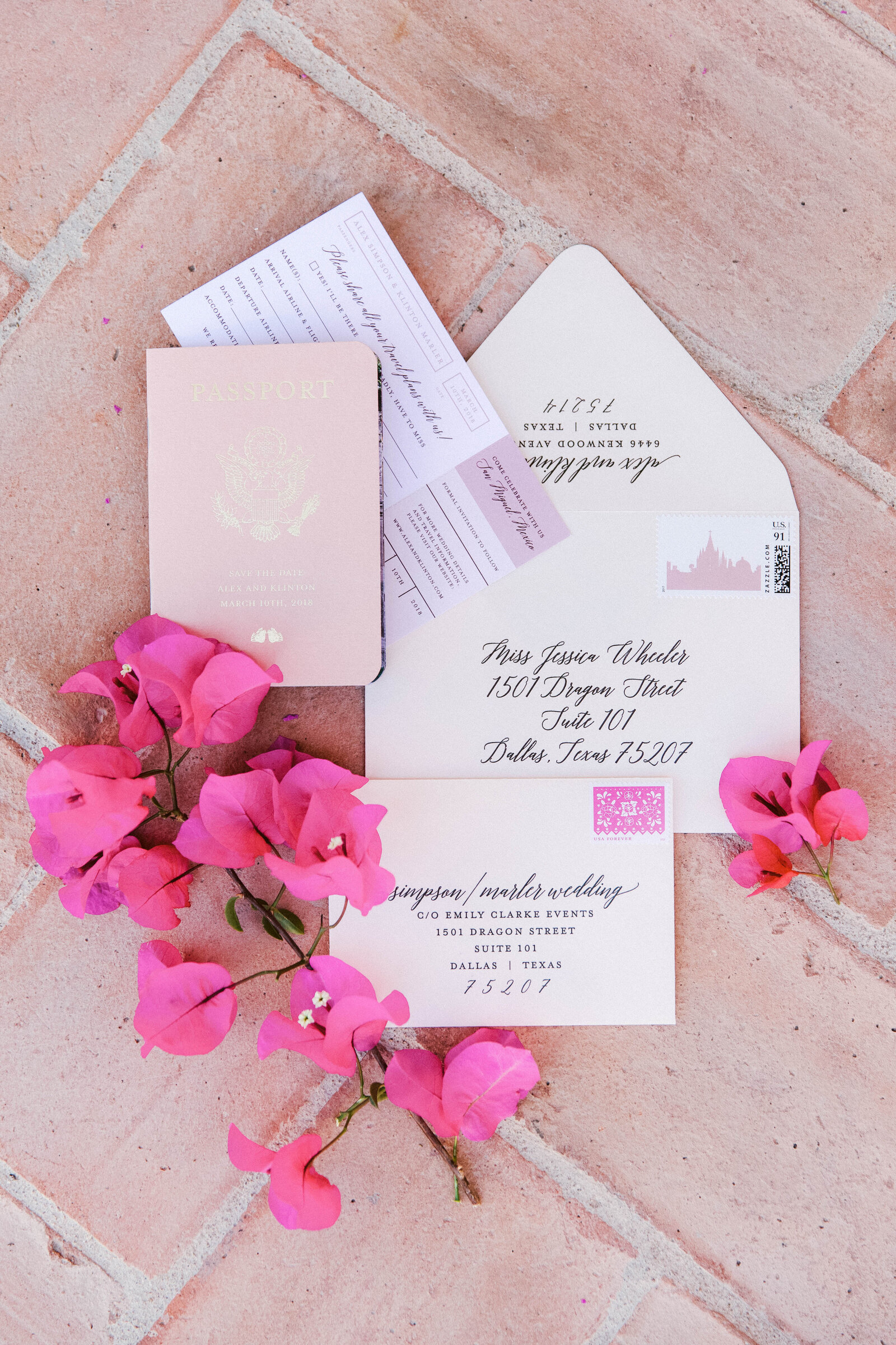 pink save the date san miguel wedding photographer