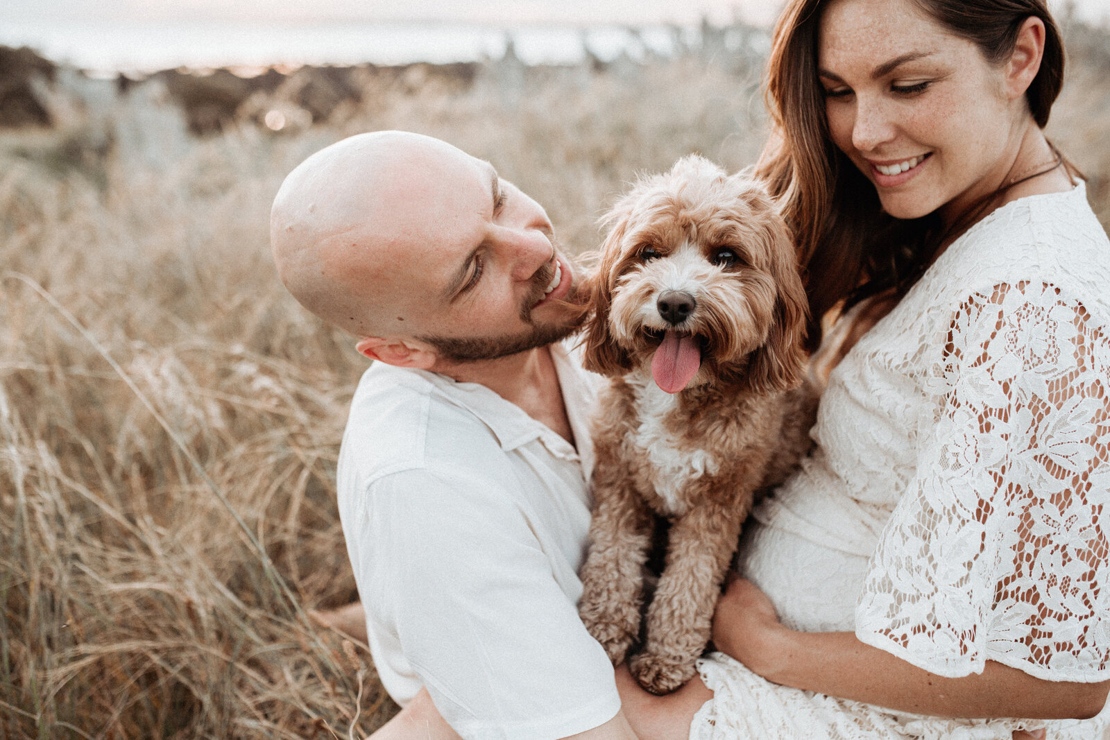 Natural lifestyle family photo of couple with dog for maternity photo session with Sapphire and Stone Photography Melbourne Maternity Photographer