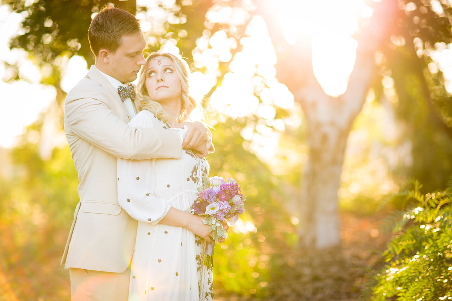 amazing light with bride and groom