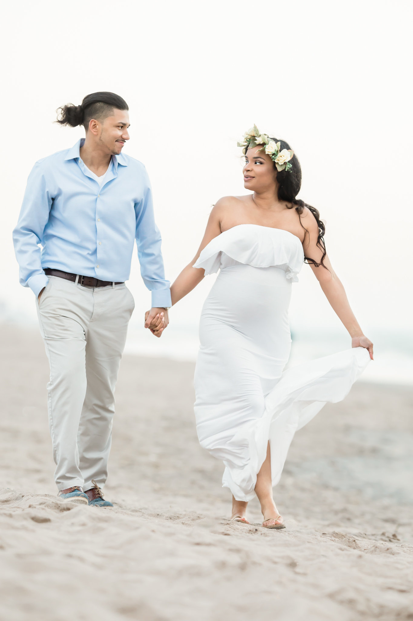 Dreamcatcher Rose Studios - maternity - coney island ny - husband and wife walk along beach