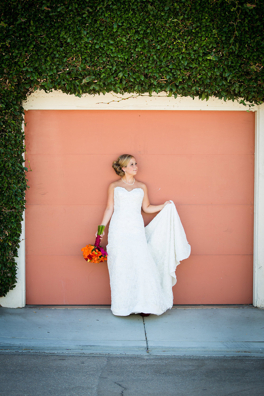bride with orange flowers at darlington house