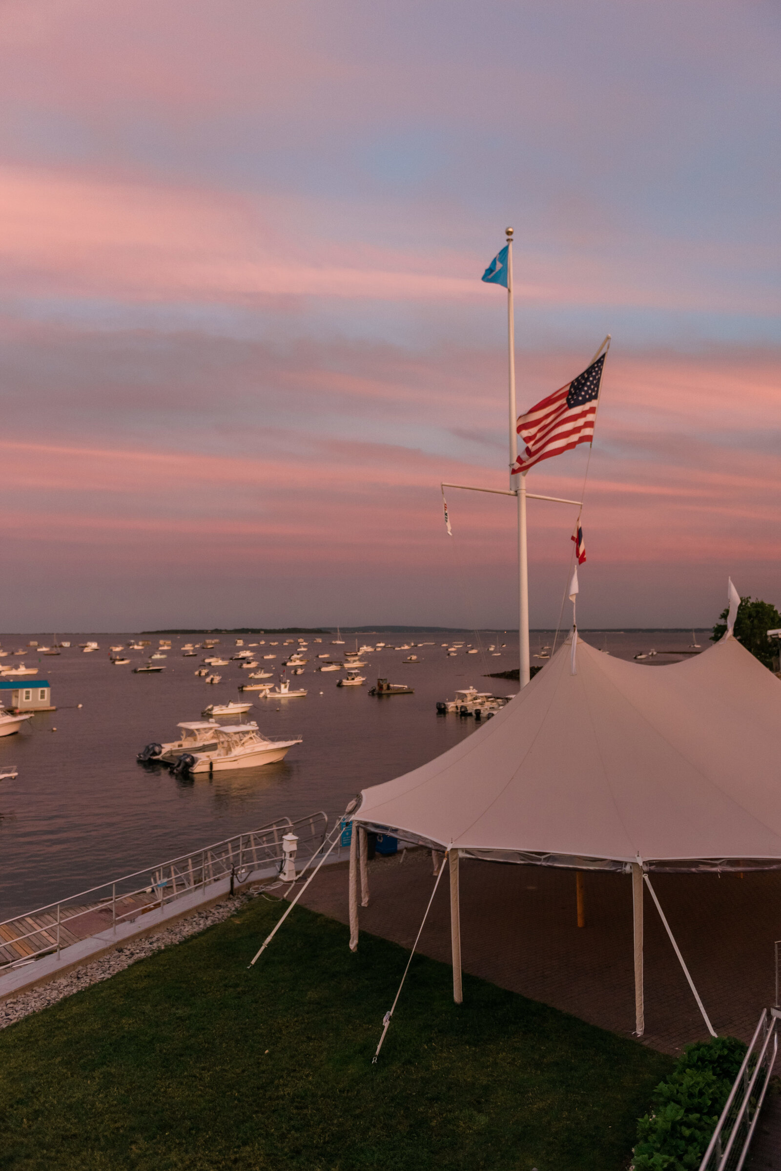 View from the top deck during sunset at a Duxbury Bay Maritime School wedding